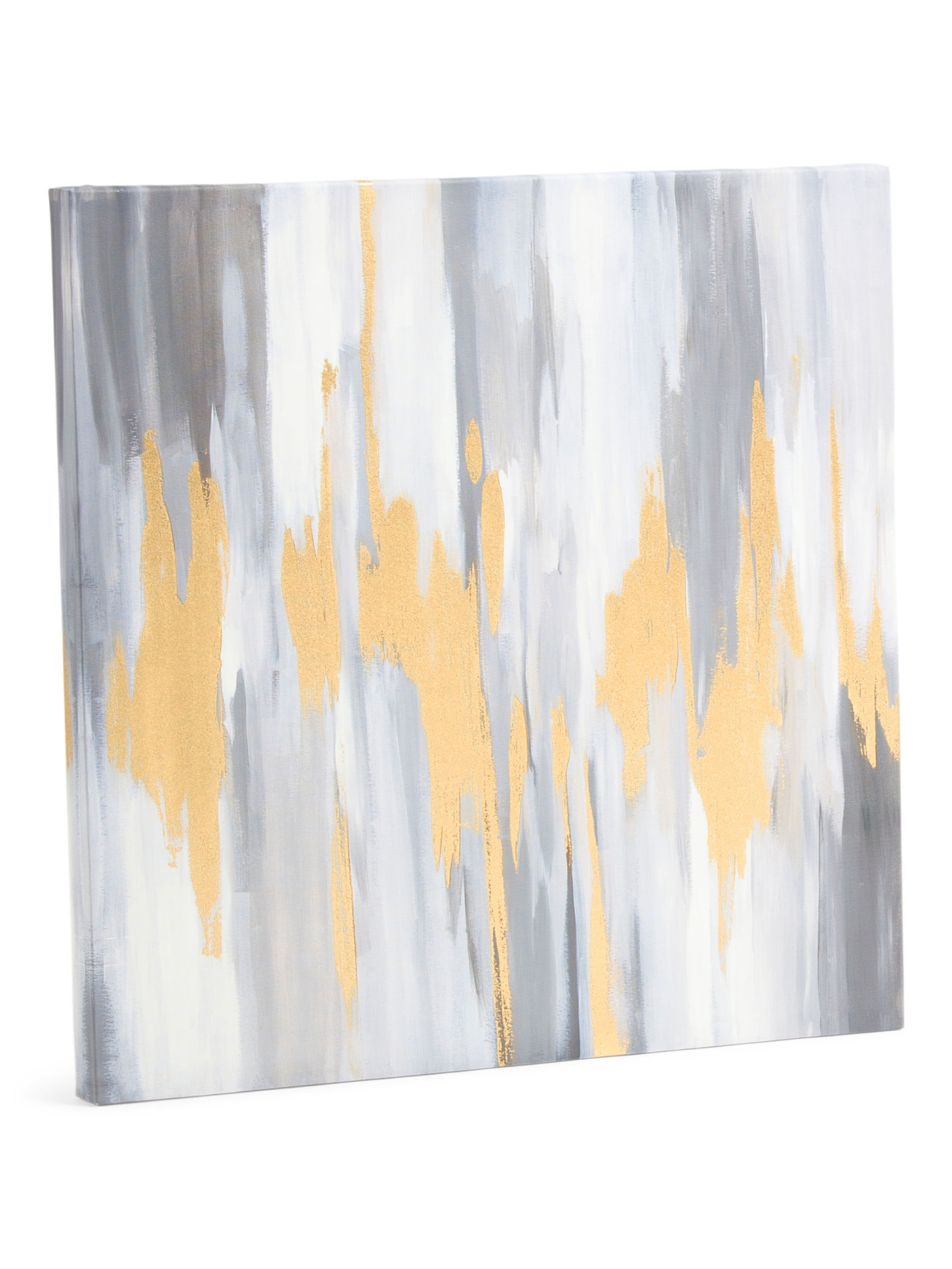 Tj Maxx Wall Art For Widely Used 24X24 Gray Abstract Wall Art With Gold Foil – Wall Decor – T.j. (Gallery 5 of 15)