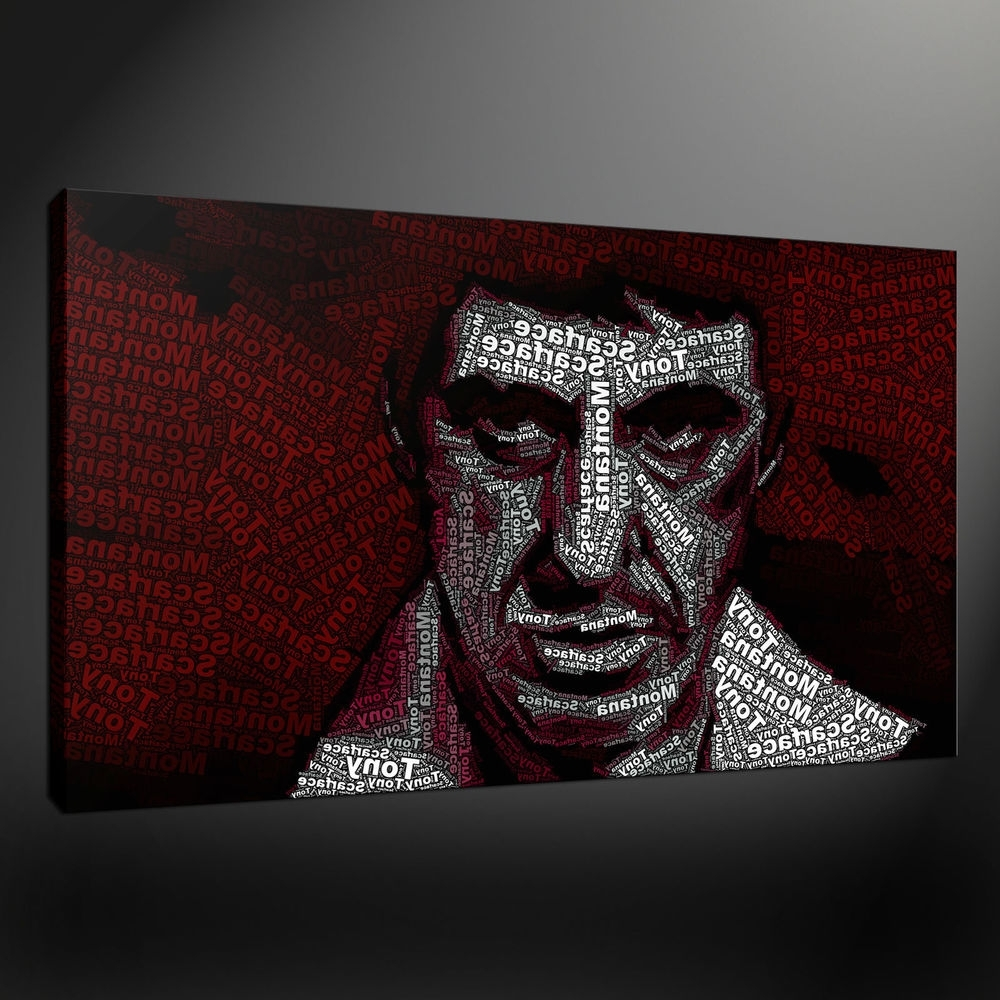 Tony Montana Scarface Typography Canvas Wall Art Print Picture Intended For Most Current Typography Canvas Wall Art (View 14 of 15)