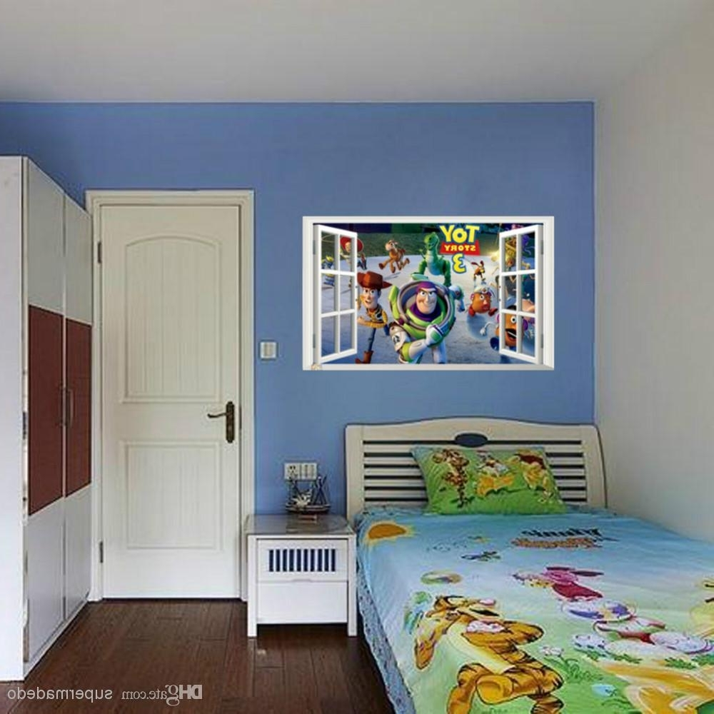 Toy Story Wall Art Inside Well Known Toy Story Wall Stickers Fake Window Movie Poster For Children Room (View 13 of 15)