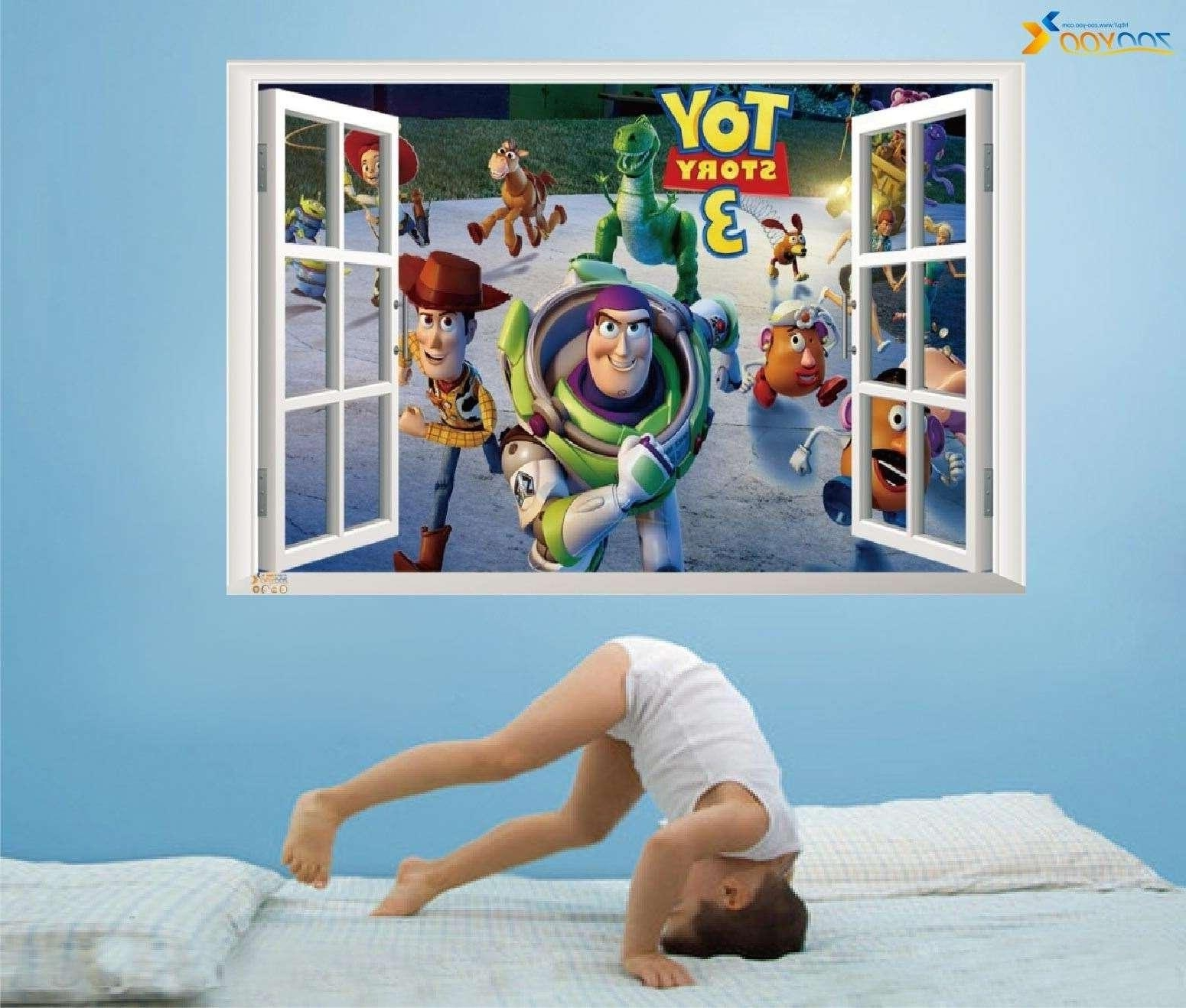 Toy Story Wall Art Regarding Well Liked Best Selling Toy Story 3 Cartoon 3D Window Scenery Wall Decals (View 8 of 15)