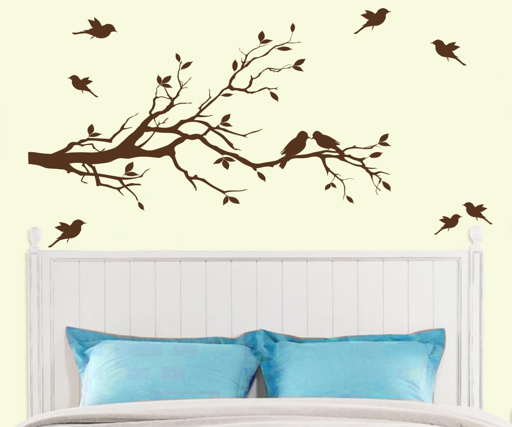 Tree Branch With 10 Birds Wall Decal Deco Art Sticker Mural In With Regard To Most Current Wall Art Deco Decals (Gallery 6 of 15)