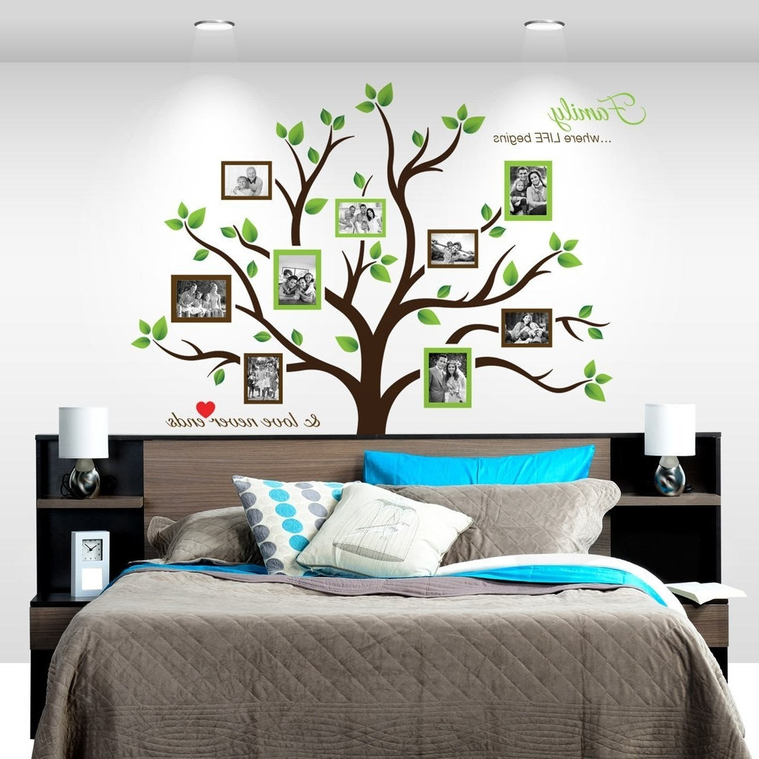 Tree Of Life Wall Art Stickers With Regard To Fashionable Amazon: Timber Artbox Large Family Tree Photo Frames Wall (View 11 of 15)