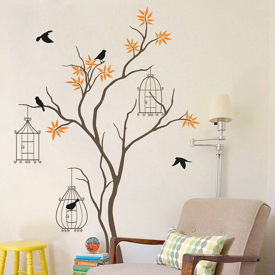 Tree With Birds And Birdcage Wall Decalwall Art Intended For 2017 Painted Trees Wall Art (Gallery 10 of 15)