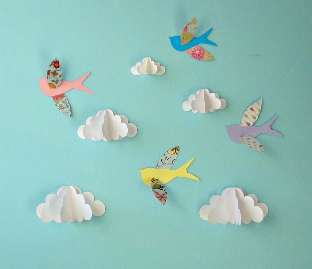 Trendy 3D Clouds Out Of Paper Wall Art Pertaining To Birds And Clouds – 3D Paper Wall Art/ Wall Decor/wall Decals (View 14 of 15)