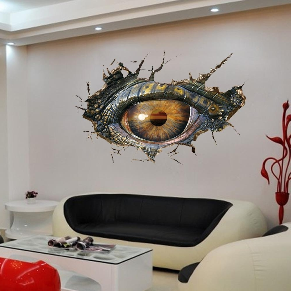 Trendy 3D Effect The Dinosaur Eye Creative Wall Stickers 70*50Cm Pvc Home With 3D Effect Wall Art (View 13 of 15)