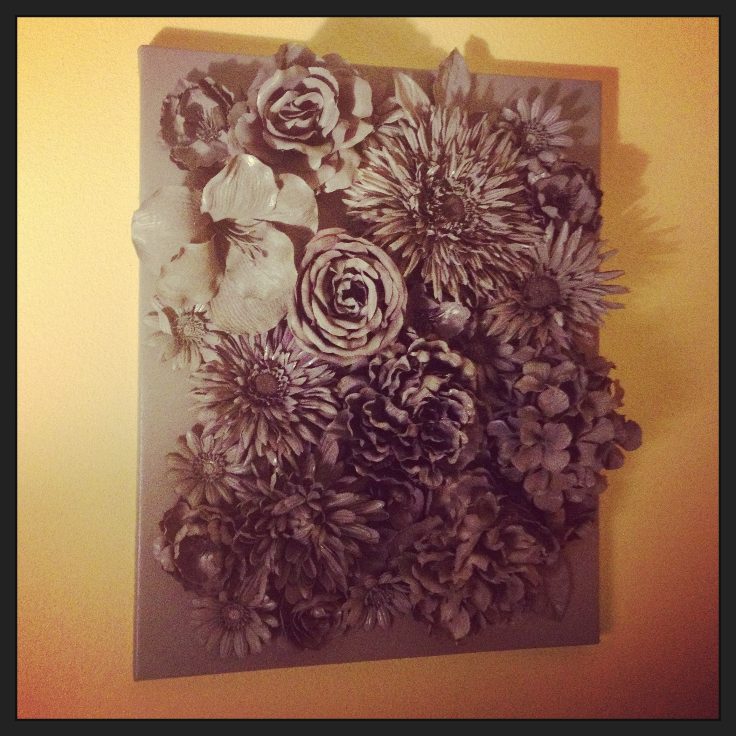 Trendy 3d Wall Art: Faux Flowers Hot Glued To Canvas; Spray Painted With Within 3d Wall Art Canvas (View 6 of 15)