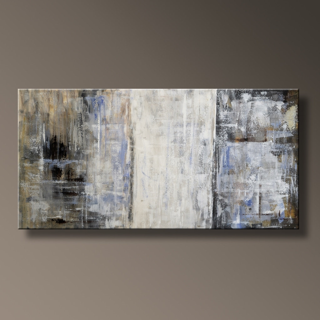 """Trendy 48"""" Original Abstract Painting Canvas Art Rustic Neutral Throughout Neutral Abstract Wall Art (Gallery 1 of 15)"""