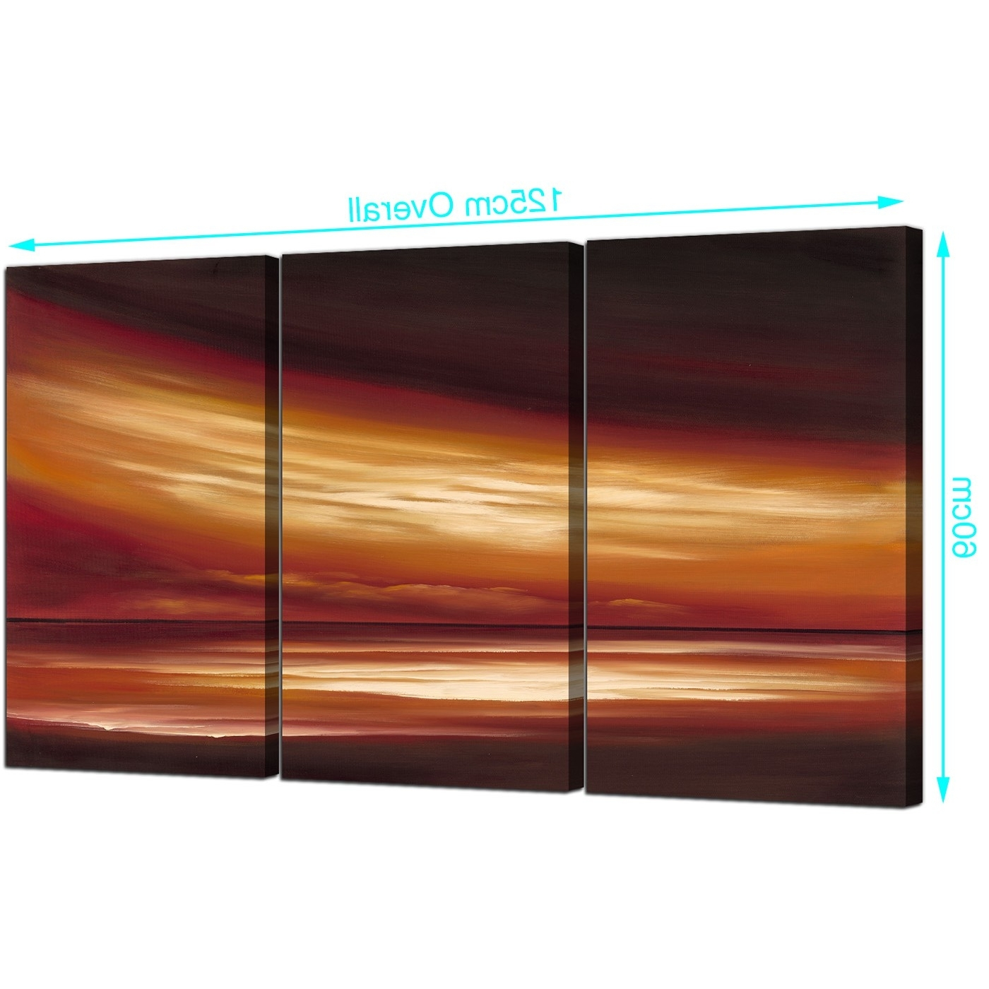 Trendy Abstract Sunset Canvas Wall Art 3 Panel For Your Office For Abstract Horizon Wall Art (Gallery 14 of 15)
