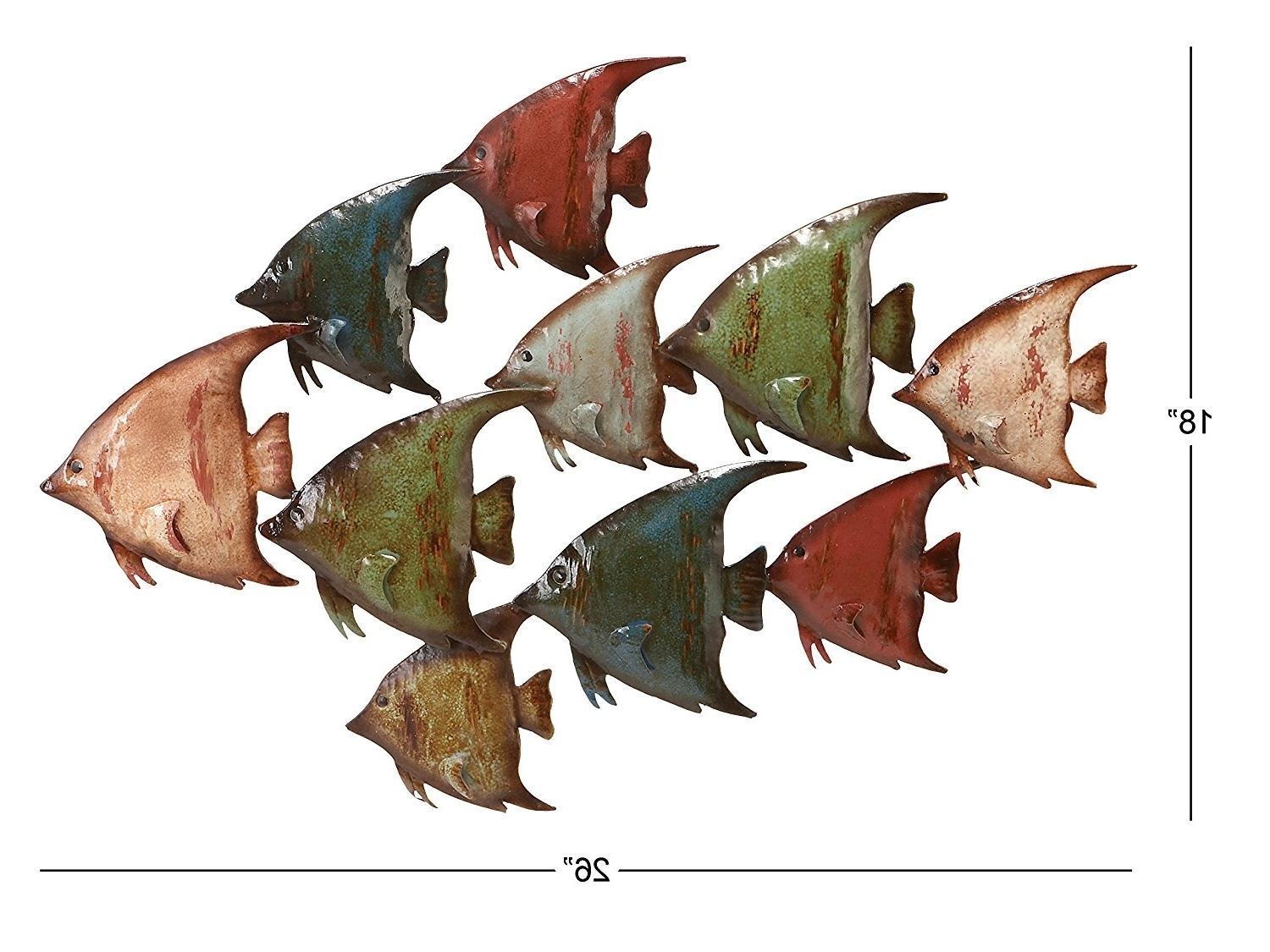 Trendy Amazon: Deco 79 63533 Metal Fish Wall Decor: Home & Kitchen With Metal School Of Fish Wall Art (View 13 of 15)
