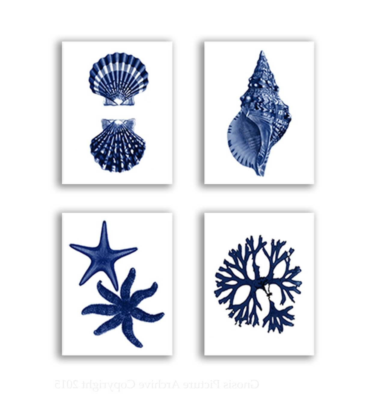 Trendy Amazon: Navy Blue Beach Wall Art Decor Set Of 4 Unframed With Regard To Seashell Prints Wall Art (View 12 of 15)