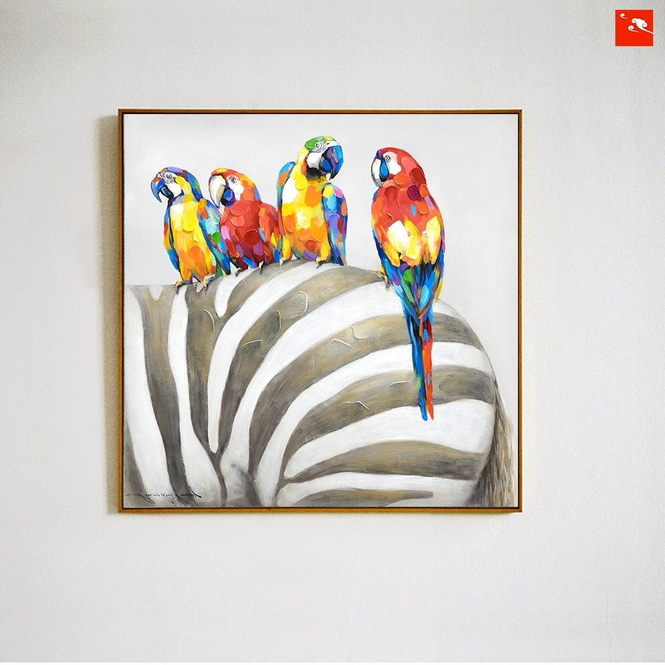 Trendy Animal Canvas Wall Art Within Animal Wall Art Elephant Zebra Abstract Parrot Hand Painted Oil (View 12 of 15)