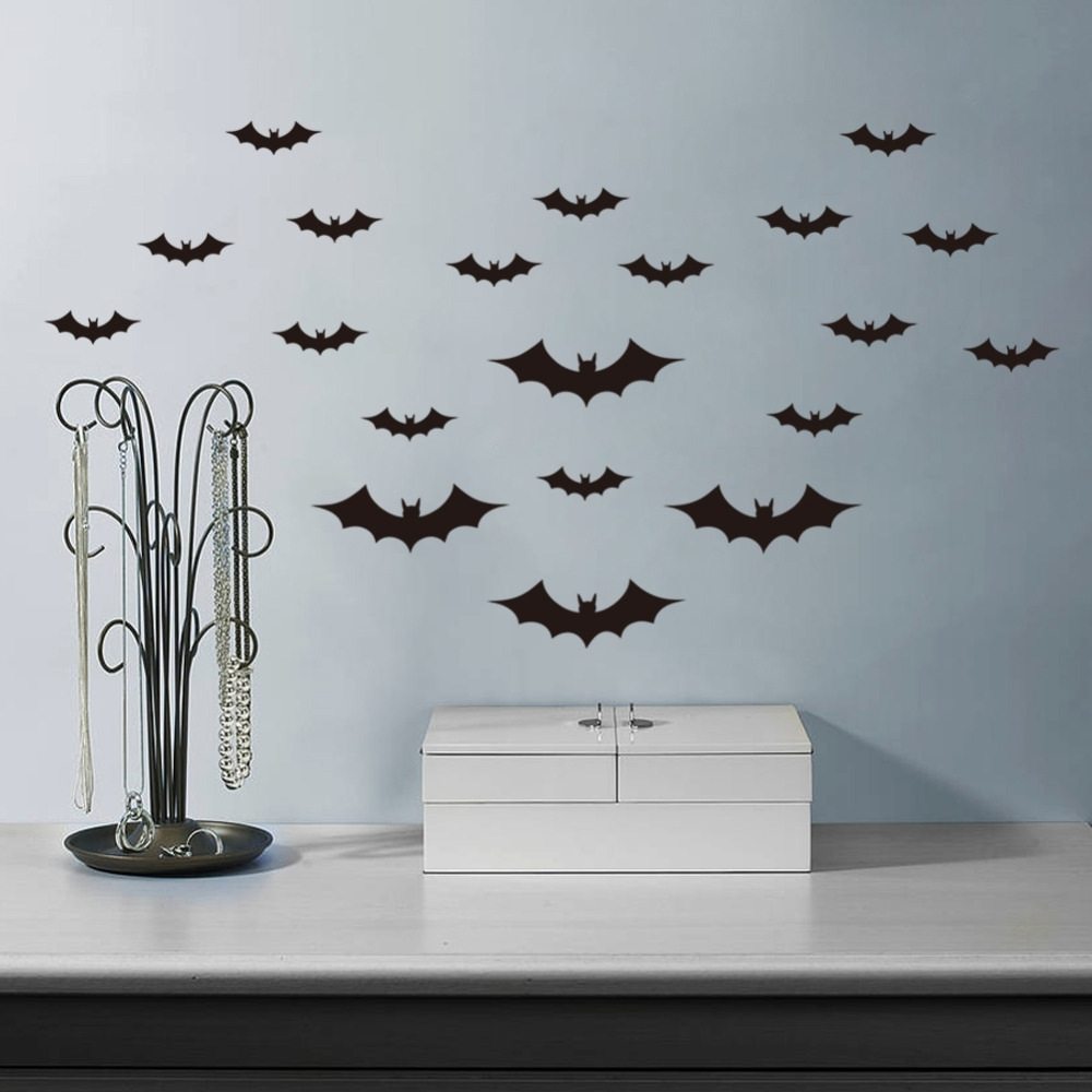 Trendy Batman 3D Wall Art Pertaining To Diy Halloween Party Black 3D Decorative Bats Wall Sticker (View 14 of 15)