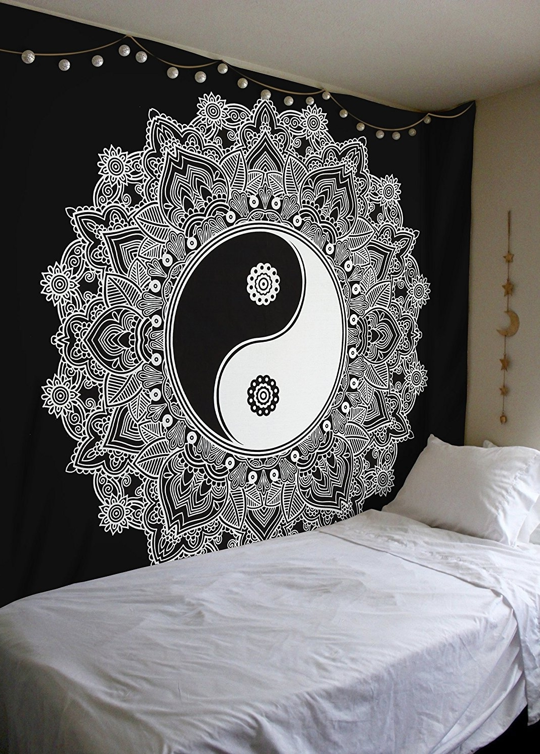 Trendy Black And White Wall Art With Amazon: Black And White Tapestry, Yinyang Wall Hanging (View 13 of 15)