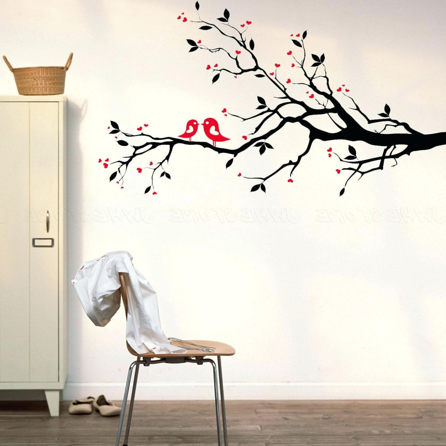 Trendy Cherry Blossom Branch Wall Decal Latest Red Cherry Blossom Wall Pertaining To Red Cherry Blossom Wall Art (View 7 of 15)