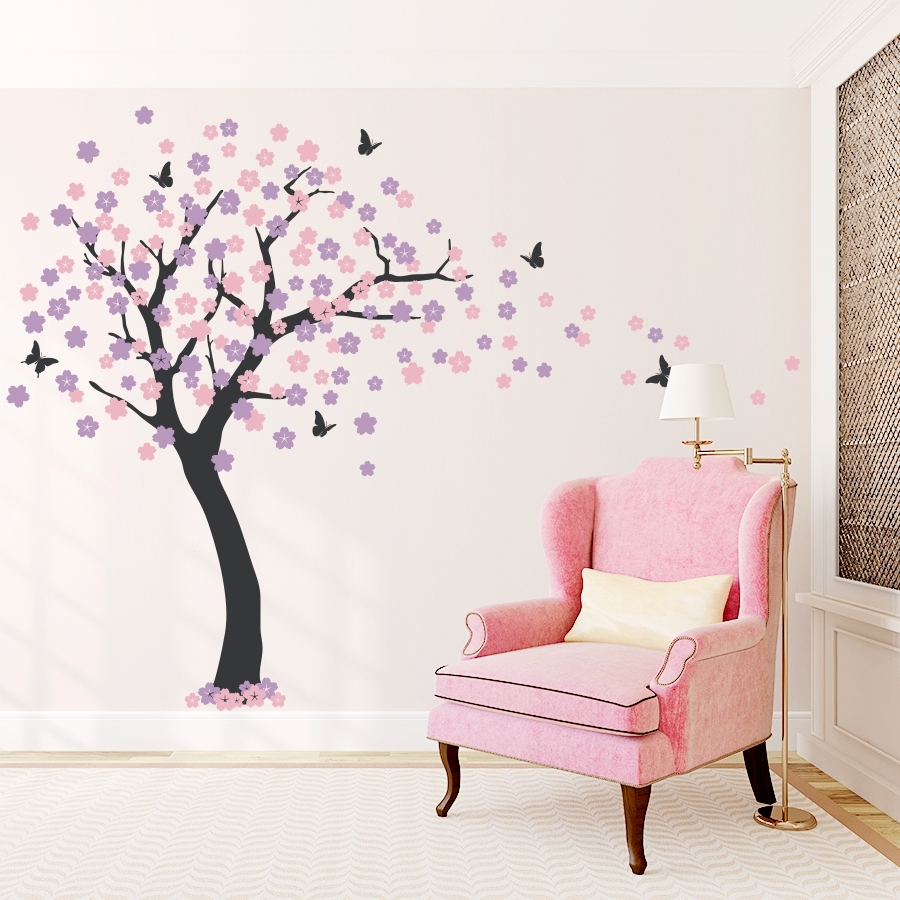 Trendy Cherry Blossom Vinyl Wall Art Pertaining To Cherry Blossom Tree Wall Decal (View 14 of 15)