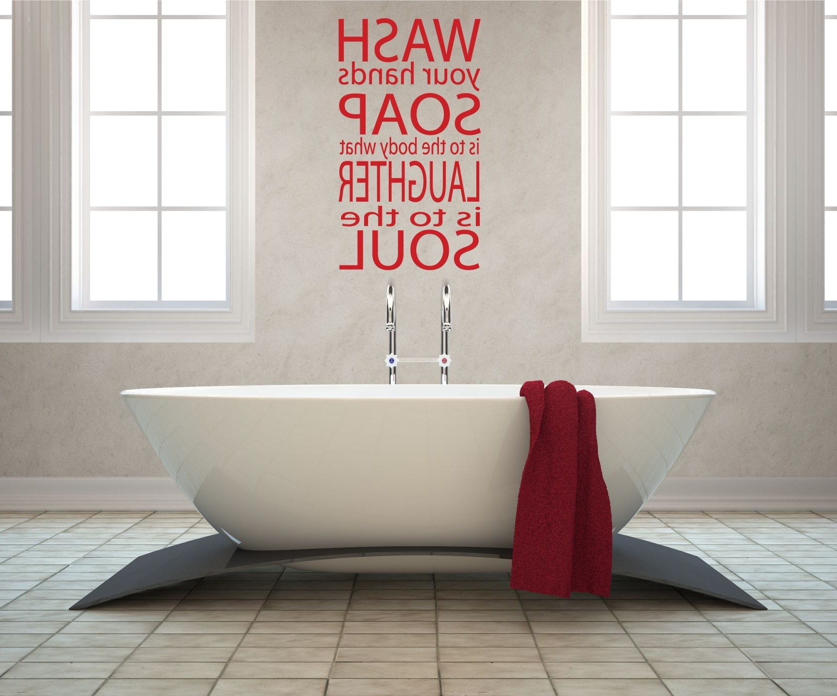 Trendy Delightful Bathroom Wall Art With Red Stickers Design Attached In Regarding Red Bathroom Wall Art (Gallery 8 of 15)