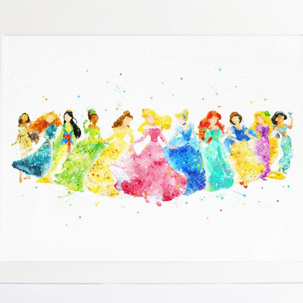 Trendy Disney Princess Wall Art Regarding Disney Princess Collection – Watercolor Nursery Princess Printable (View 11 of 15)
