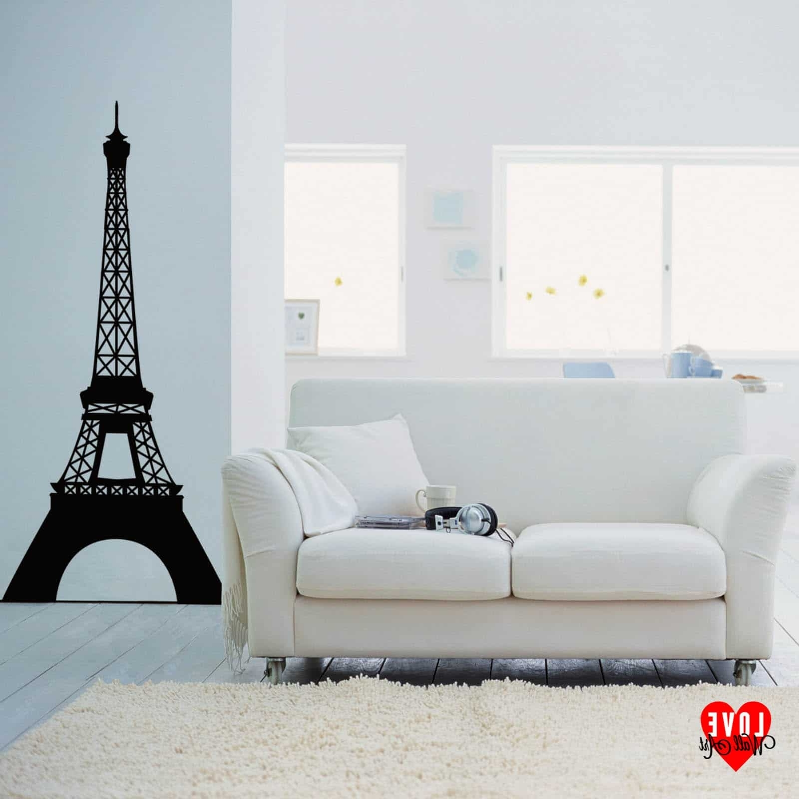 Trendy Eiffel Tower Wall Art Pertaining To Eiffel Tower Wall Sticker Wall Art Design Paris France (View 13 of 15)