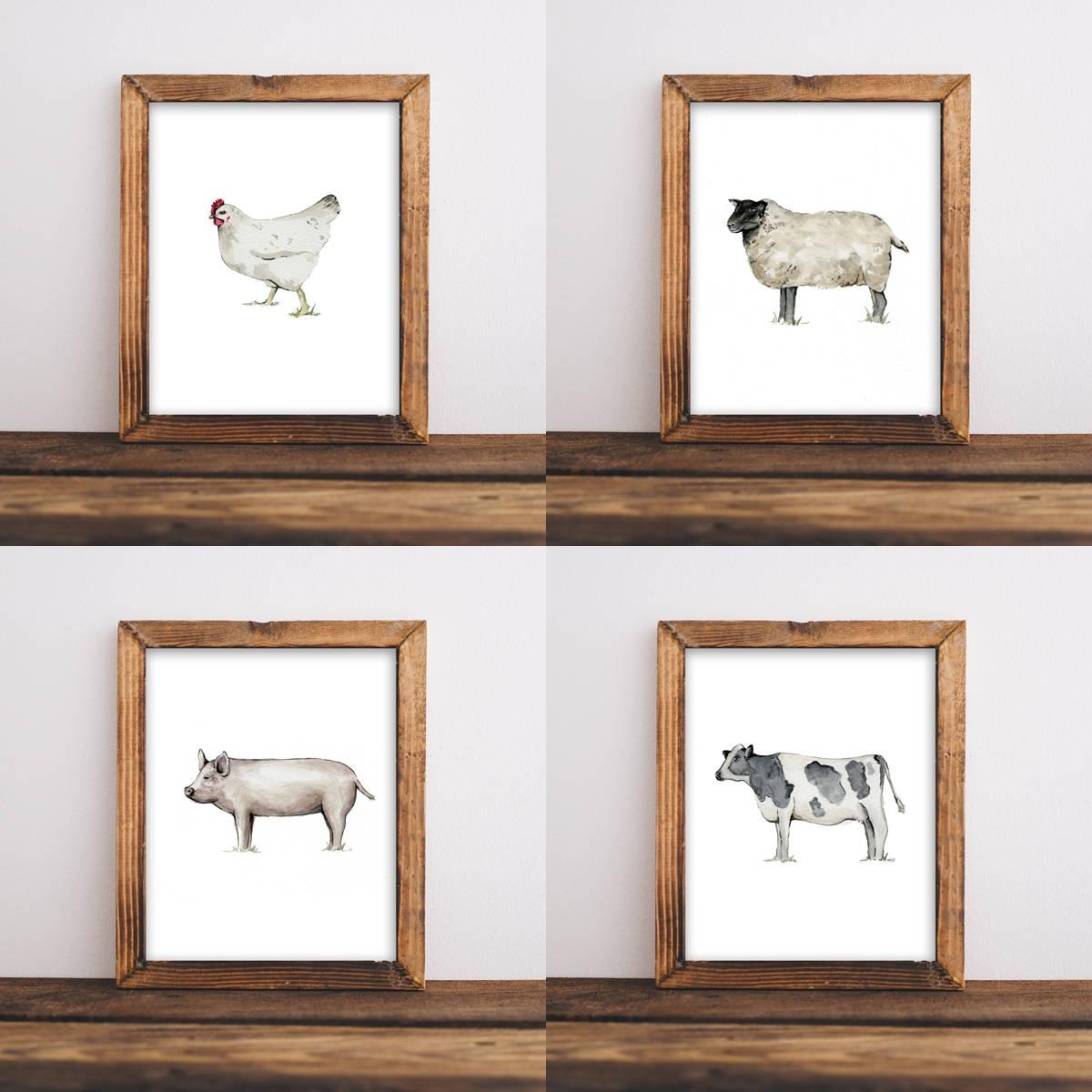 Trendy Farmhouse Wall Art With Farmhouse Wall Art, Nursery Wall Art, Shabby Chic Wall Art, Animal (View 14 of 15)