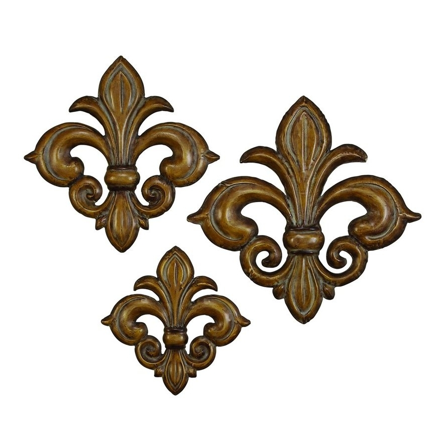 Trendy Fleur De Lis Metal Wall Art Within Shop Woodland Imports 3 Piece W X H Frameless Metal Fleur De Lis (View 14 of 15)