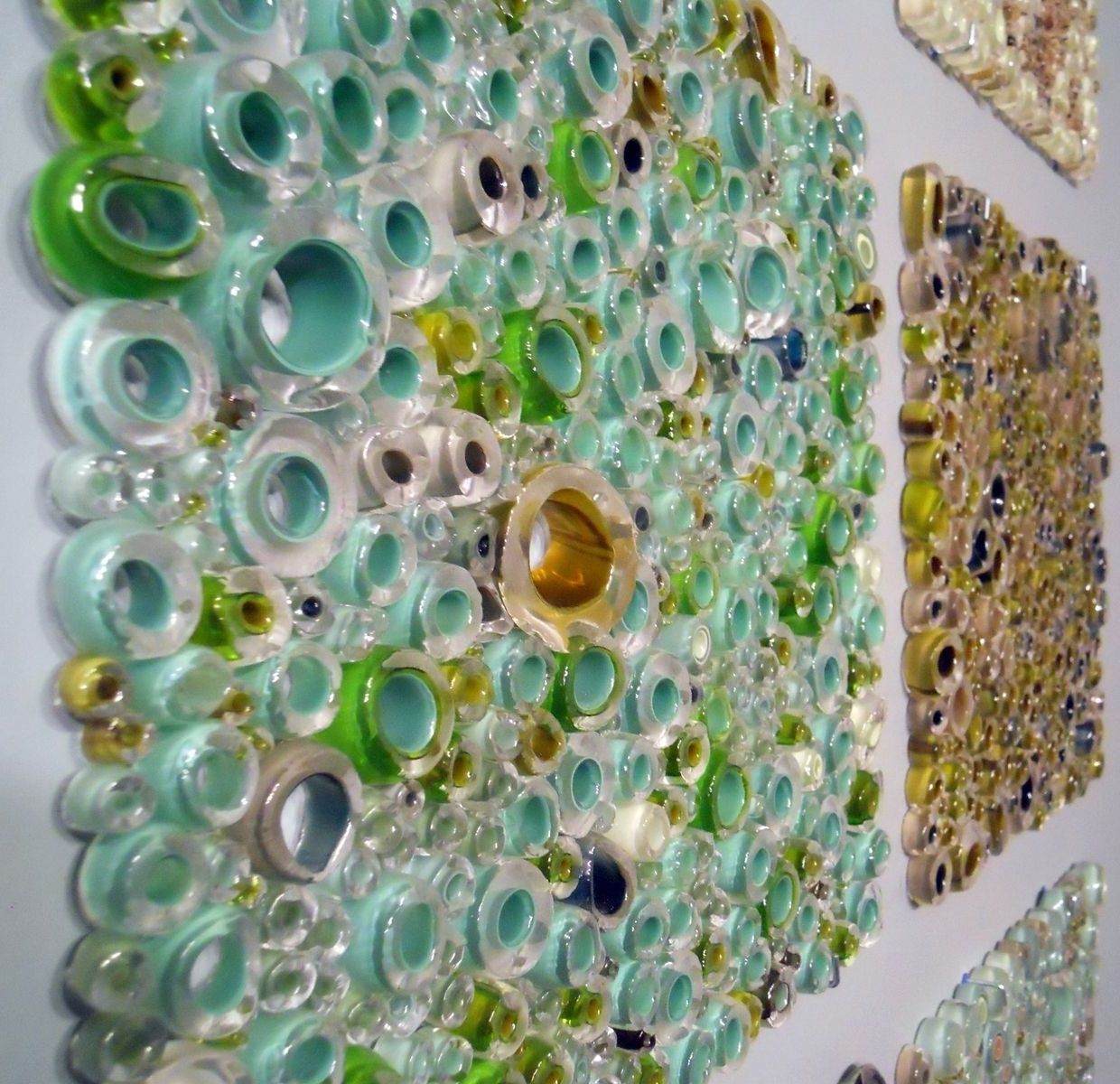 Trendy Handmade Glass Wall Panel Art Work, Fused Tubing Serieswolf With Glass Wall Art Panels (View 13 of 15)