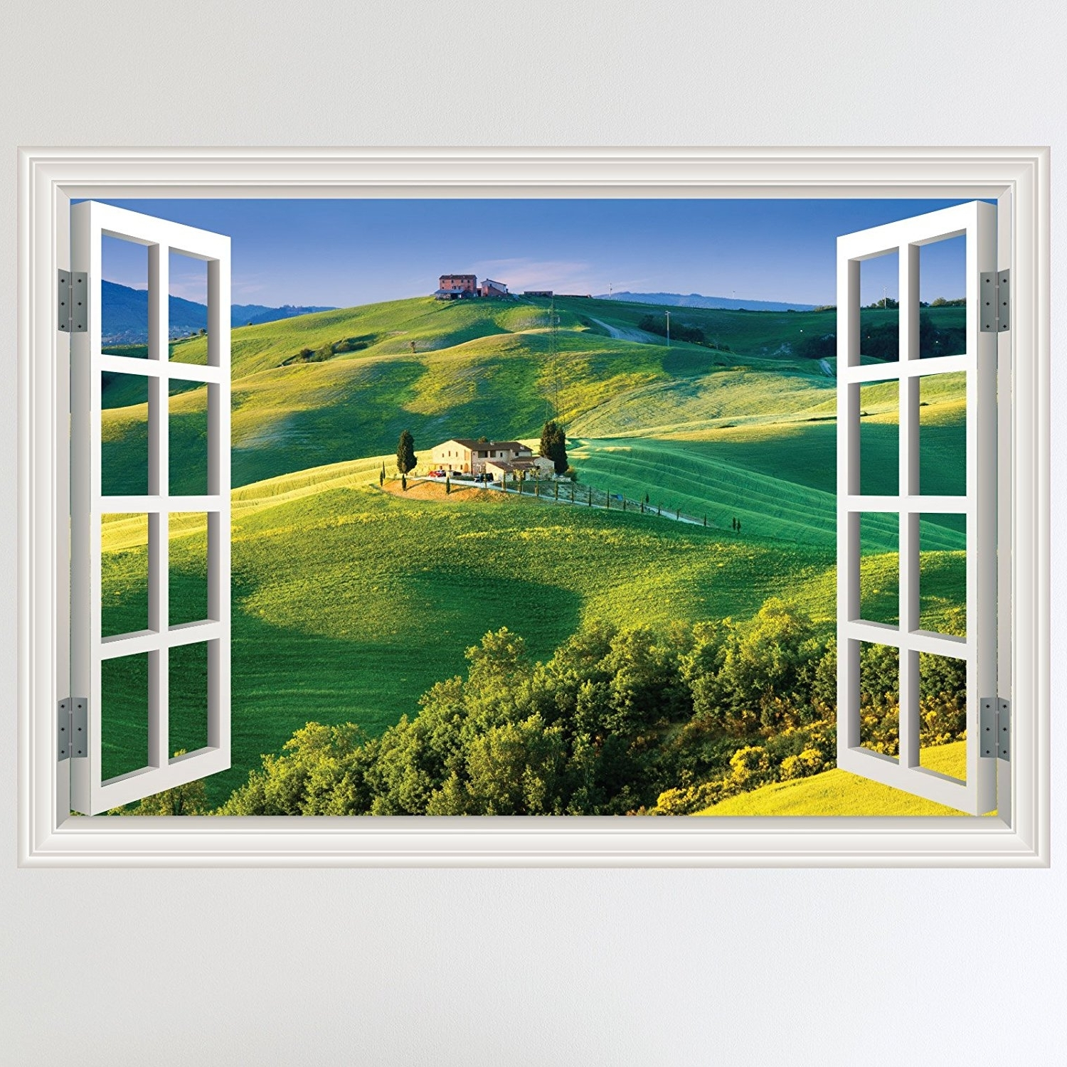 Trendy Italian Countryside Wall Art Within Full Colour Italian Countryside Fields Landscape Window Scene Wall (View 13 of 15)