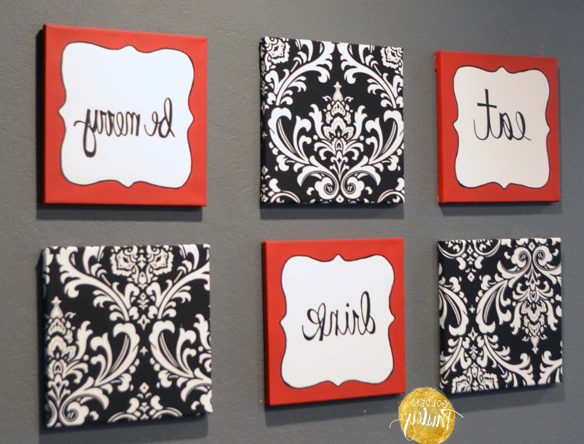 "Trendy Kitchen Wall Art Sets Inside Red And Black Damask Eat Drink Be Merry ""Chef"" Wall Decor Set (View 12 of 15)"