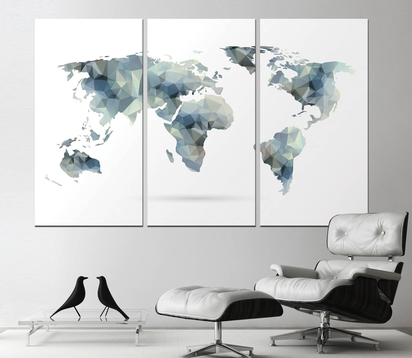 Trendy Large Geometric World Map Print, Abstract World Map Canvas Panels Regarding Abstract Office Wall Art (Gallery 7 of 15)