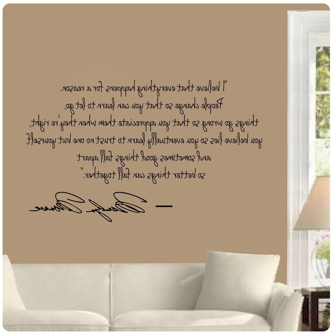 Trendy Marilyn Monroe Wall Decal Decor Quote I Believe Things Happen With Regard To Marilyn Monroe Wall Art Quotes (View 13 of 15)