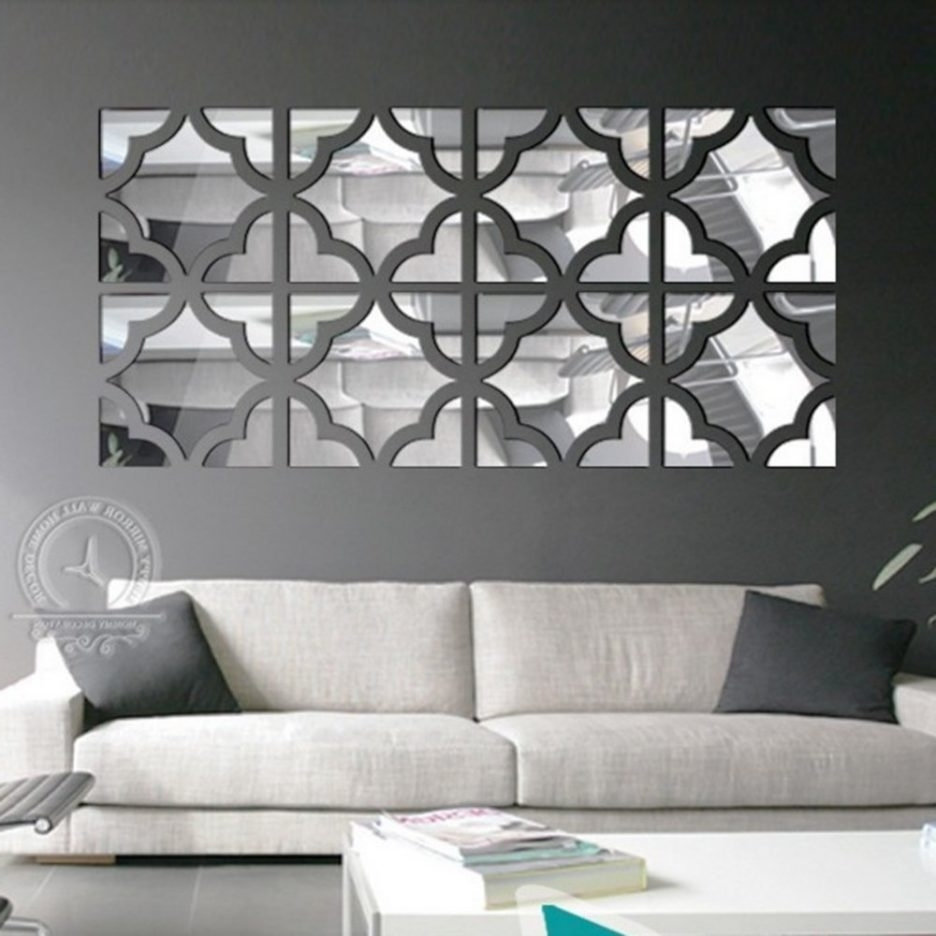 Trendy Modern Mirrored Wall Art Pertaining To Funlife 20Pcs Flower Square Loop 3D Acrylic Mirror Wall Stickers (View 14 of 15)
