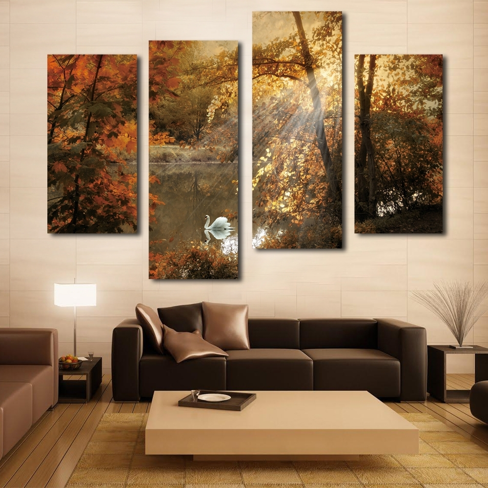 Trendy Multi Panel Canvas Wall Art With Regard To Nice White Swan Painting Fairy Multi Panel Canvas Wall Art (View 14 of 15)
