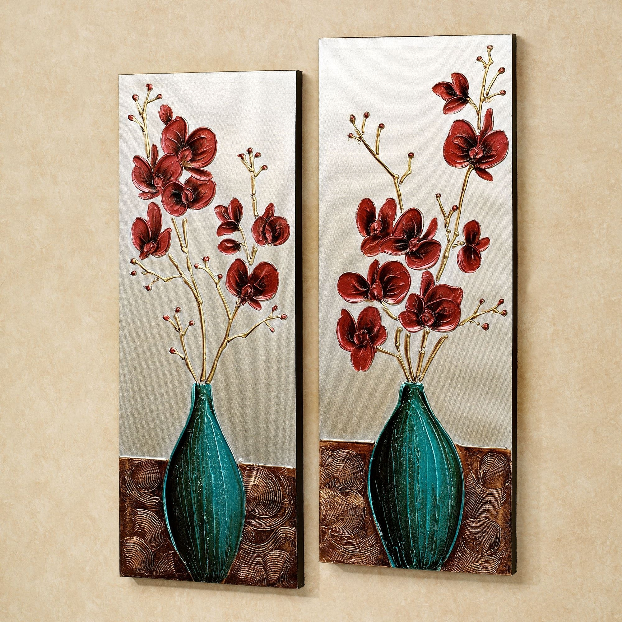 Trendy Orchid Medley Floral Canvas Wall Art Set For Floral Wall Art Canvas (View 9 of 15)