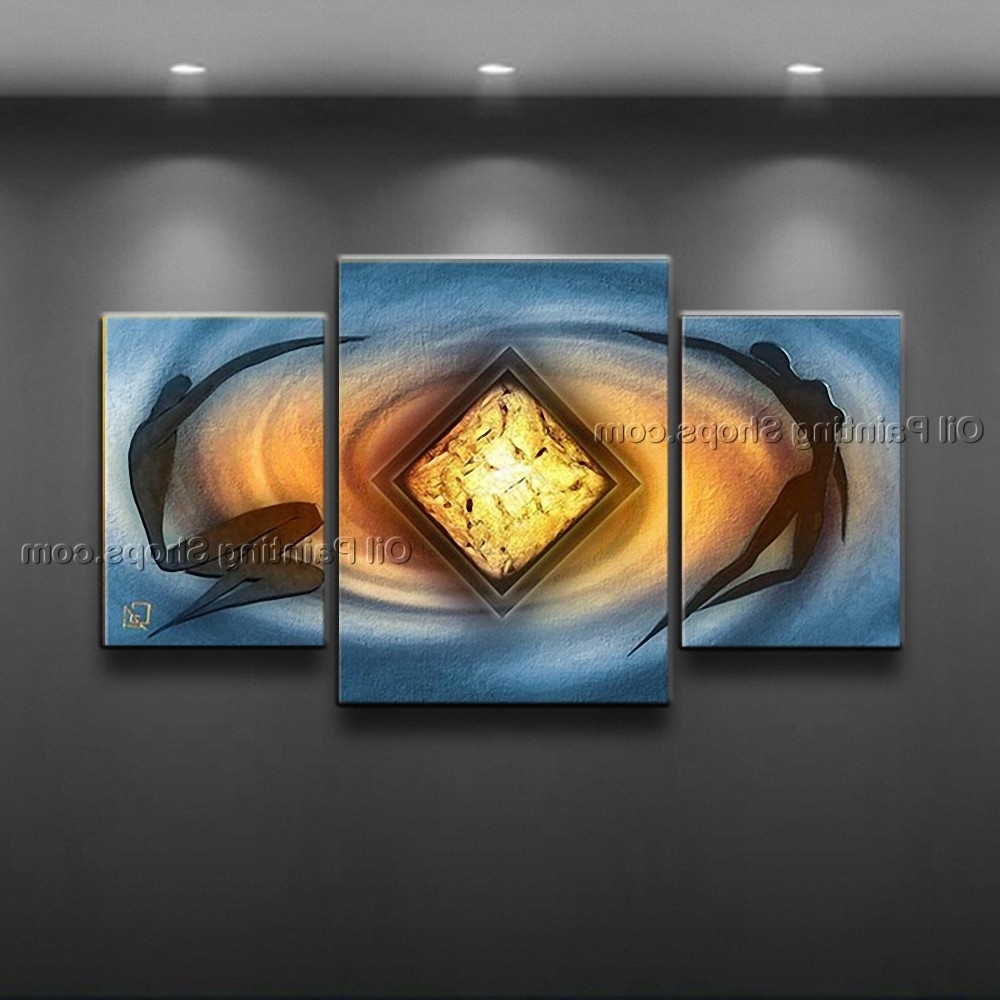 Trendy Painted Triptych Modern Abstract Painting Wall Art Inner Framed Within Triptych Art For Sale (View 9 of 15)