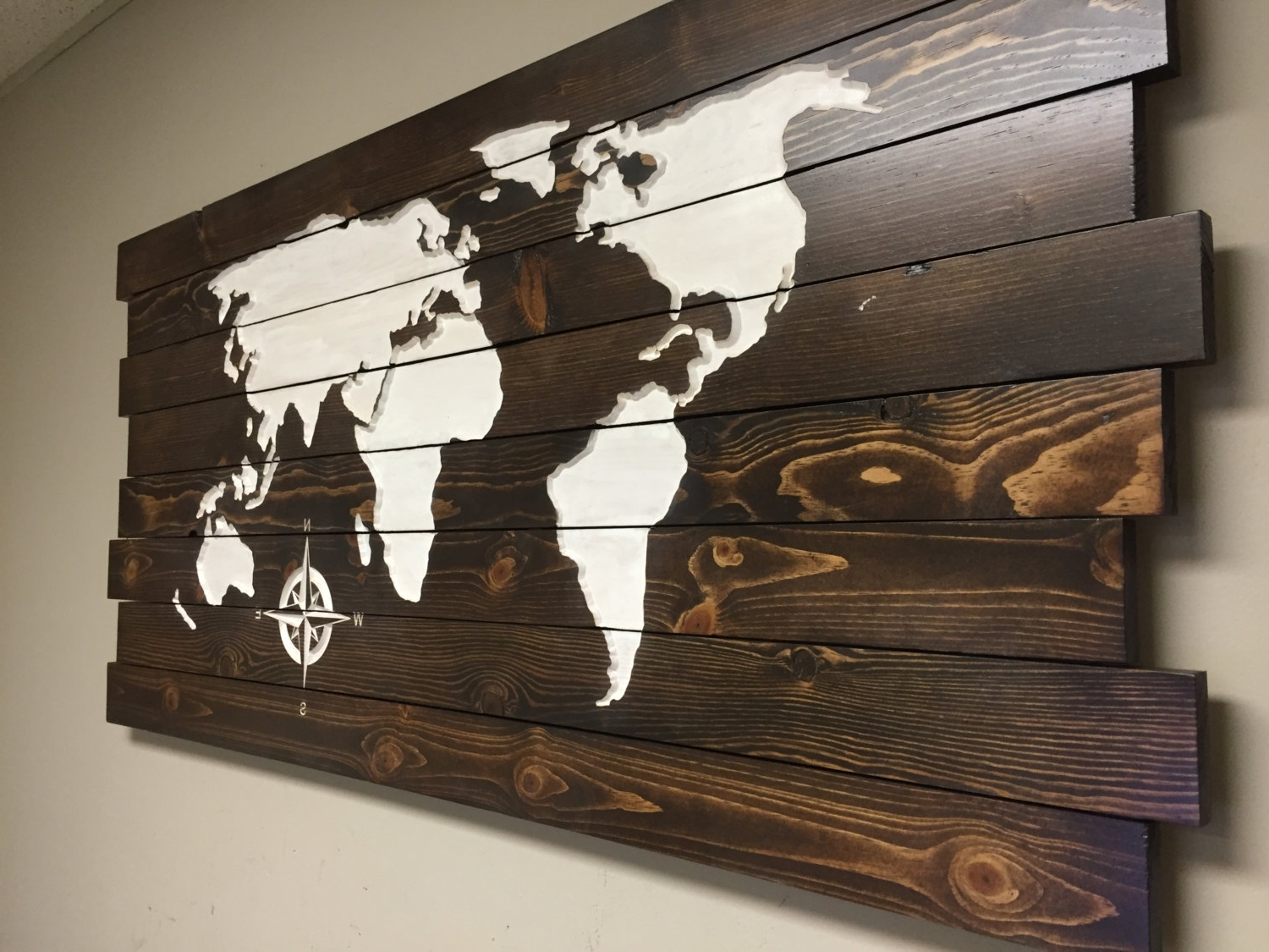 Trendy Pallet Sign World Map Carved Wood Wall Art Home Decor At For Wooden World Map Wall Art (View 8 of 15)