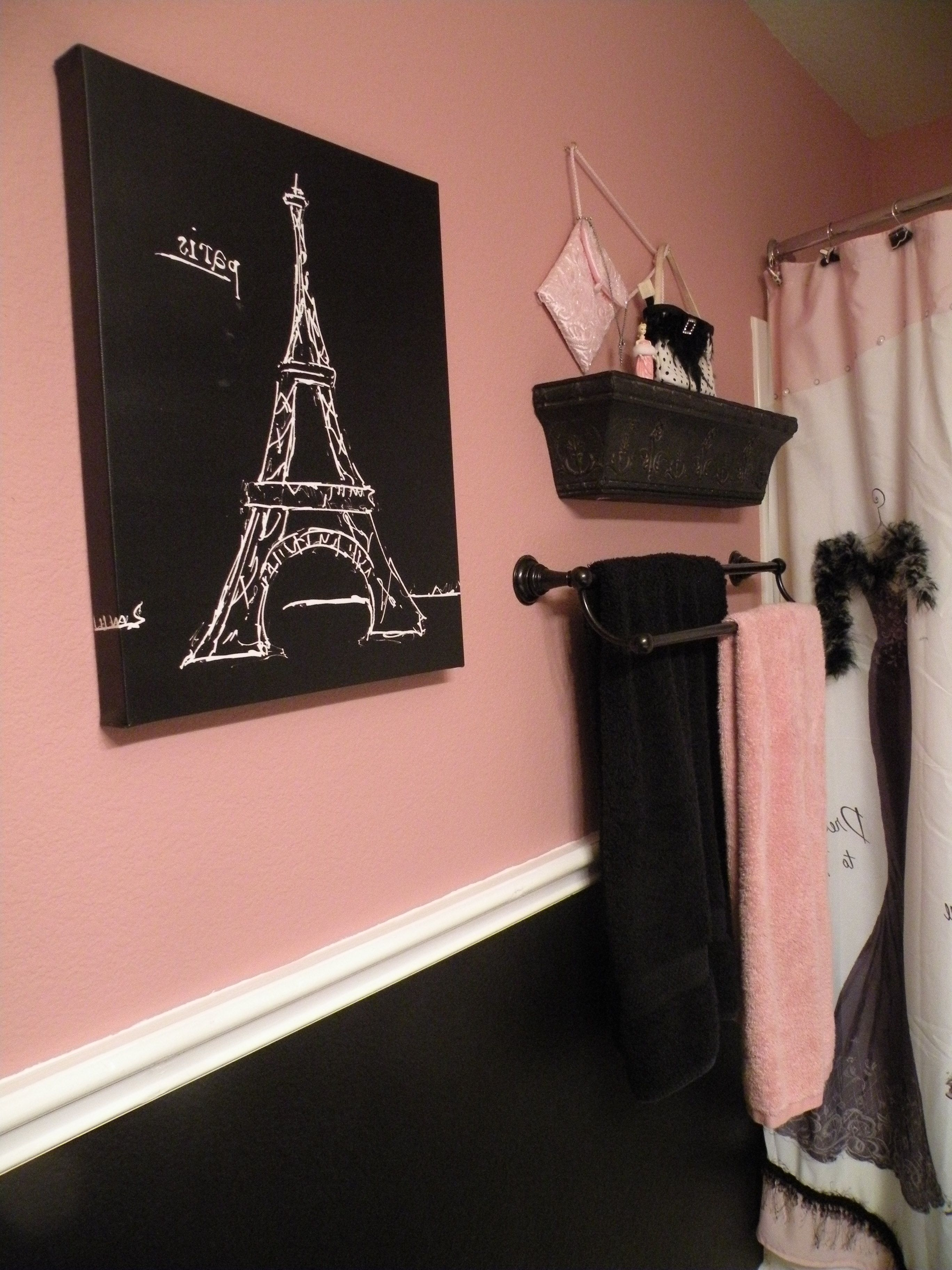 Trendy Paris Theme Wall Art Throughout Black And Pink Paris Bathroom (View 13 of 15)