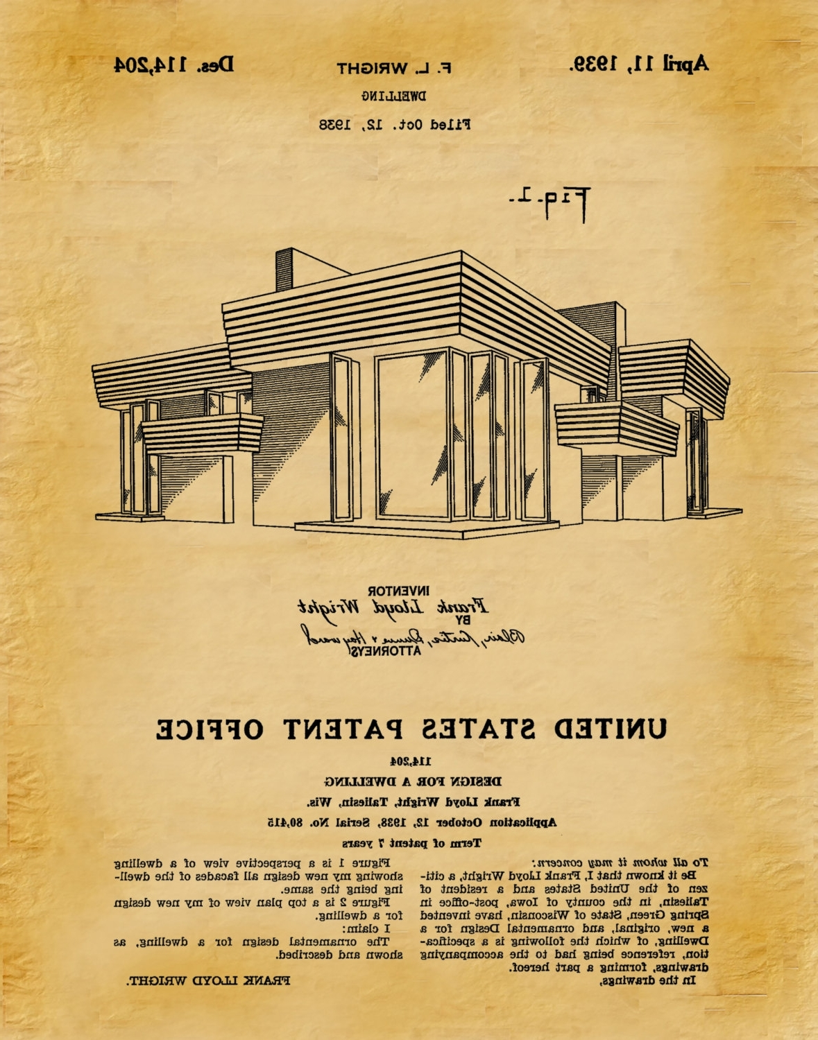 Trendy Patent 1939 Frank Lloyd Wright House Architecture – Dwelling Art Within Frank Lloyd Wright Wall Art (View 13 of 15)