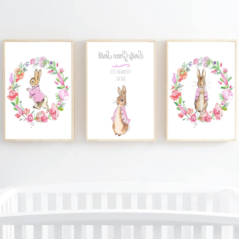Trendy Peter Rabbit Personalised Prints, Personalised Nursery Wall Art Regarding Peter Rabbit Nursery Wall Art (Gallery 14 of 15)