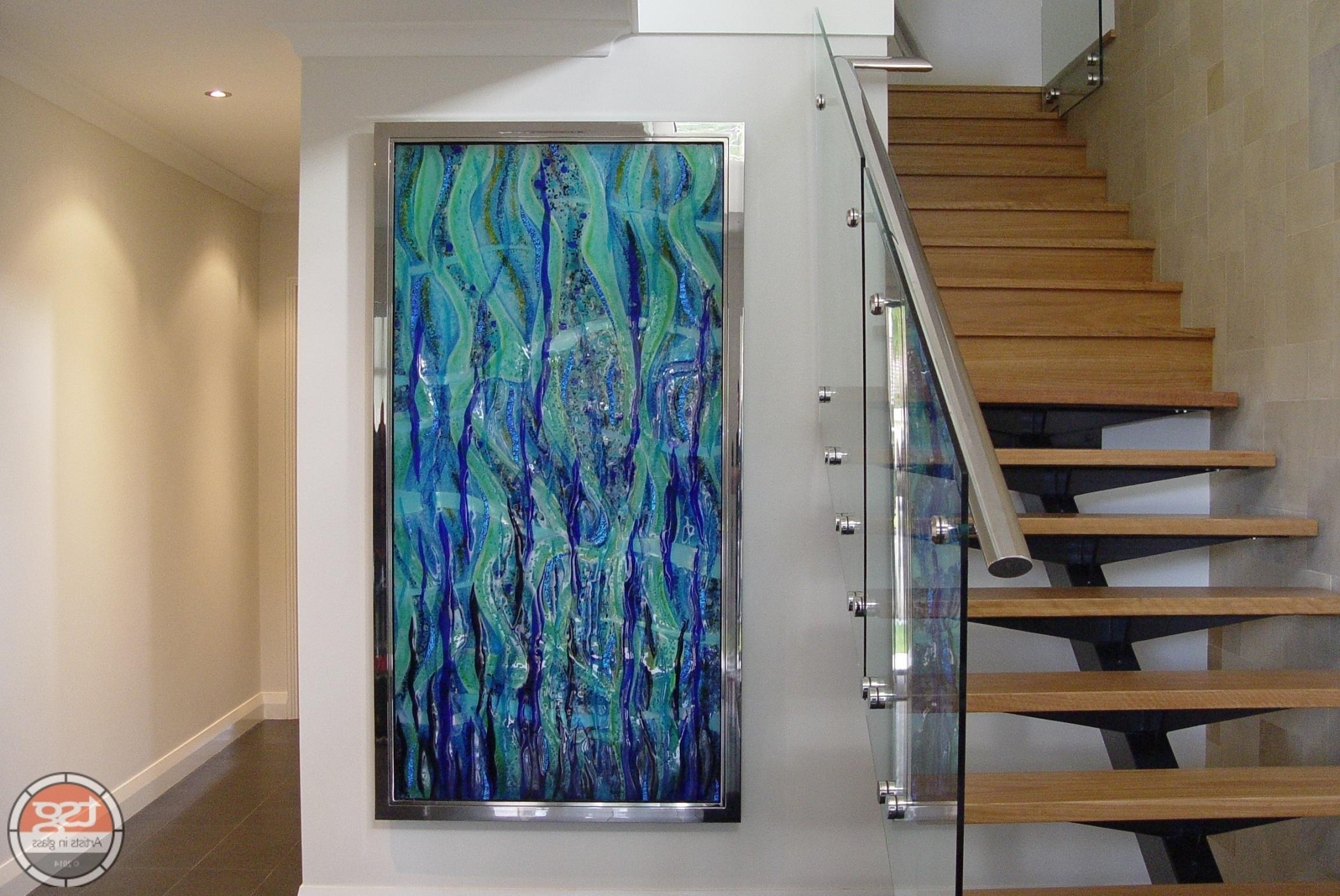 Trendy Popular Beach Triptych Fused Glass Wall Artjo Downs Beach Inside Contemporary Fused Glass Wall Art (View 7 of 15)