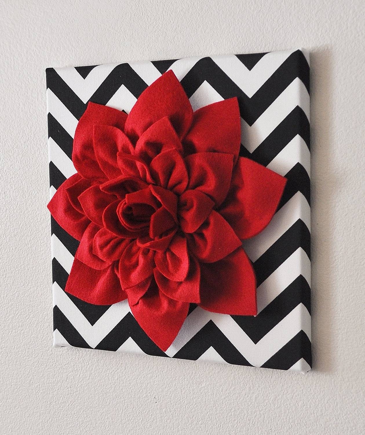 Trendy Red Wall Flower  Red Dahlia On Black And White Chevron 12 X12 Within Red Bathroom Wall Art (Gallery 14 of 15)