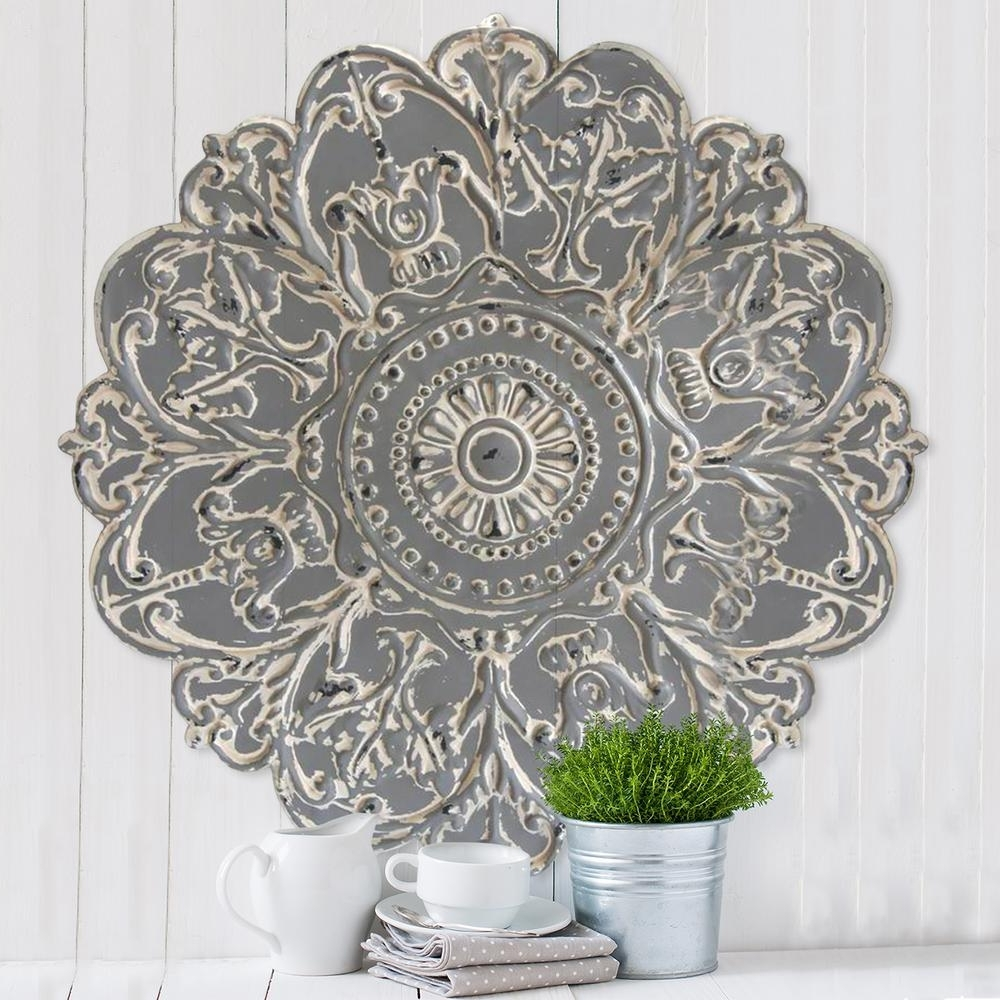 Trendy Stratton Home Decor Grey Metal Medallion Wall Decor S07730 – The Inside Metal Medallion Wall Art (Gallery 11 of 15)