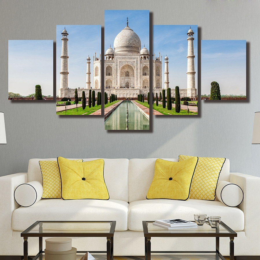 Trendy Taj Mahal Wall Art With Regard To 5 Pieces The Taj Mahal In India Hd Printed Painting Architecture (View 15 of 15)