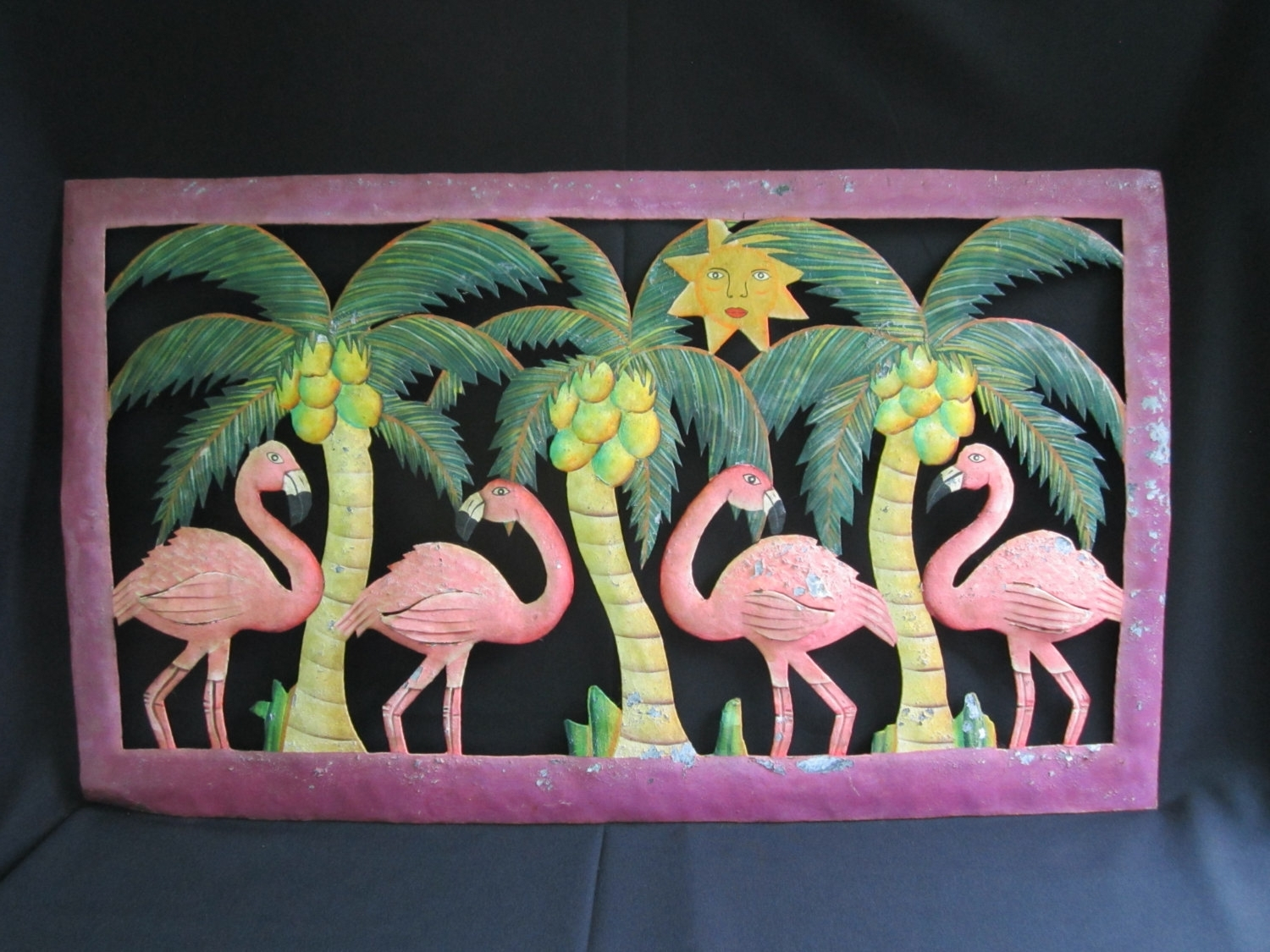 Trendy Tropical Outdoor Wall Art Within Metal Flamingo Wall Decor Chippy Metal Wall Art Tropical Themed (View 7 of 15)