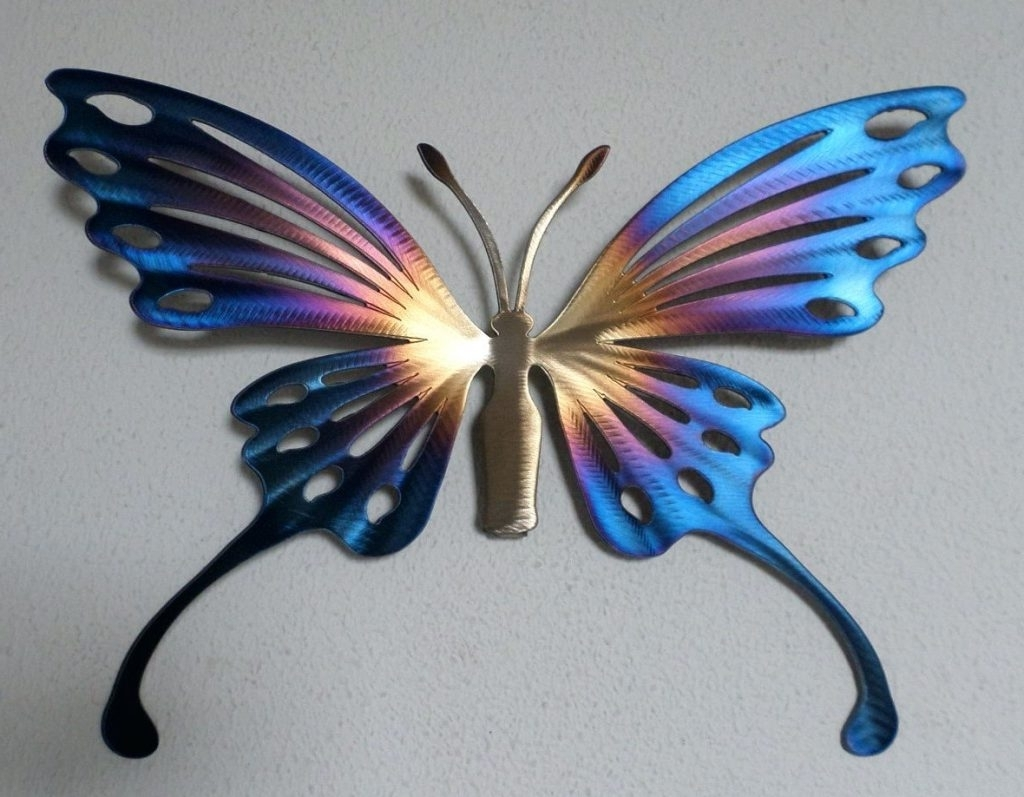 Trendy Wall Arts ~ Metal Butterfly Wall Art Decor Butterfly Garden Metal With Regard To White Metal Butterfly Wall Art (Gallery 12 of 15)