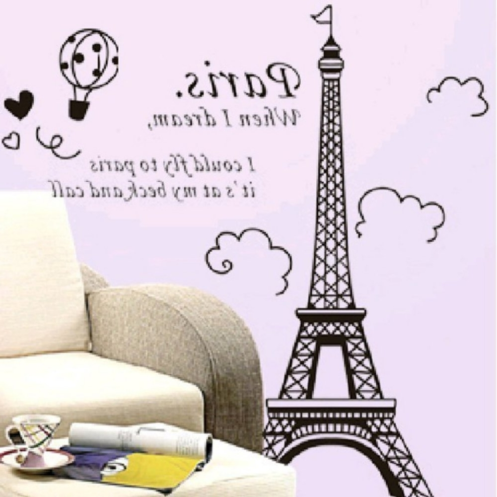 Trendy Wall Decor: Amaonm Glow In The Dark Wall Decal Loves In Paris For Eiffel Tower Wall Hanging Art (View 14 of 15)