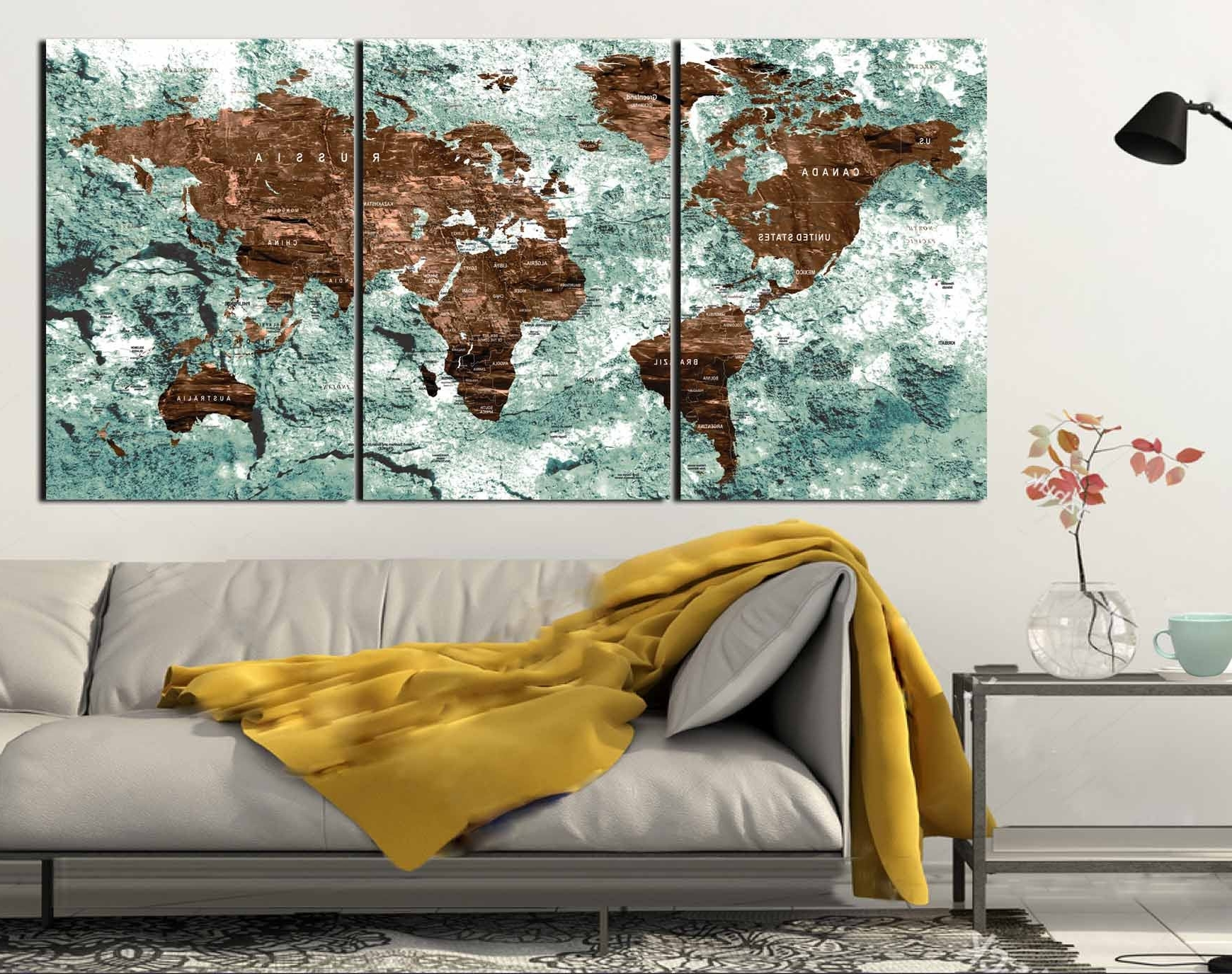 Trendy World Map,world Map Wall Art,world Map Canvas,world Map Push Pin Pertaining To Maps For Wall Art (View 10 of 15)