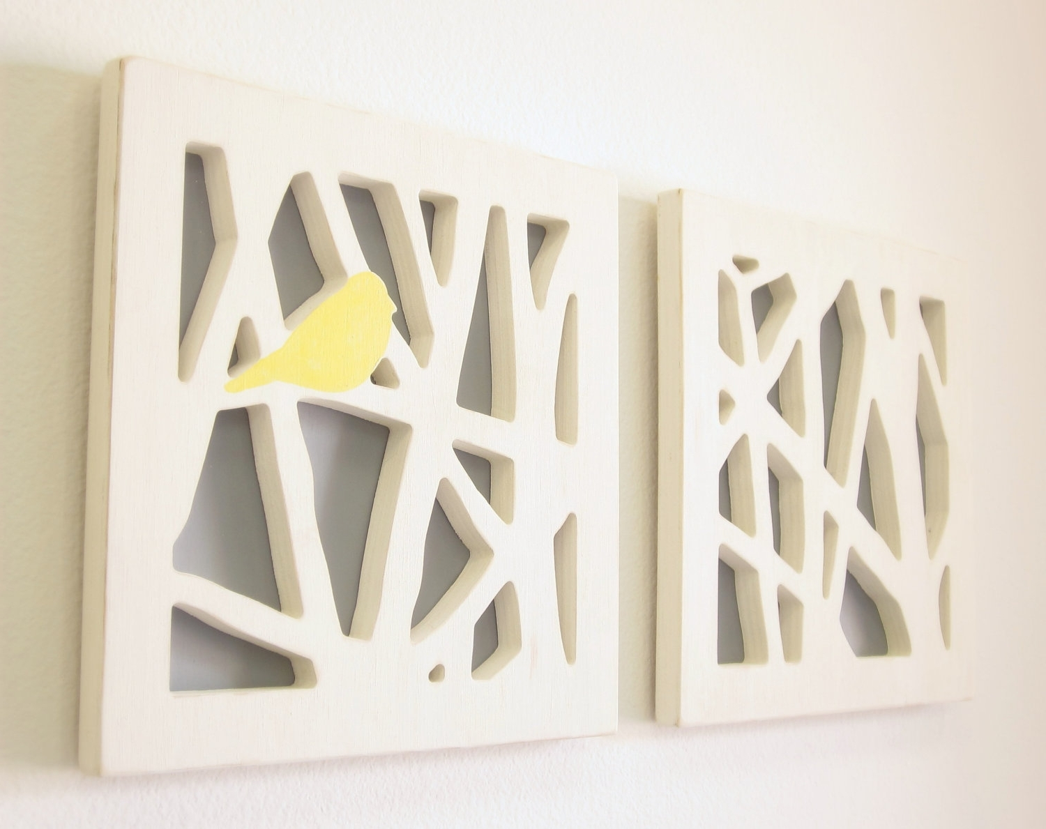 Trendy Yellow Bird Wall Art Set, Yellow And Gray Wall Art. $ (View 8 of 15)