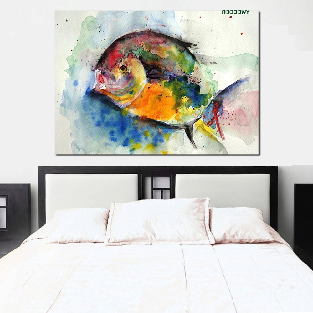 Trendy Ywdecor Print Watercolor Fish Ocean Painting Feng Shui Abstract In Feng Shui Wall Art (View 13 of 15)
