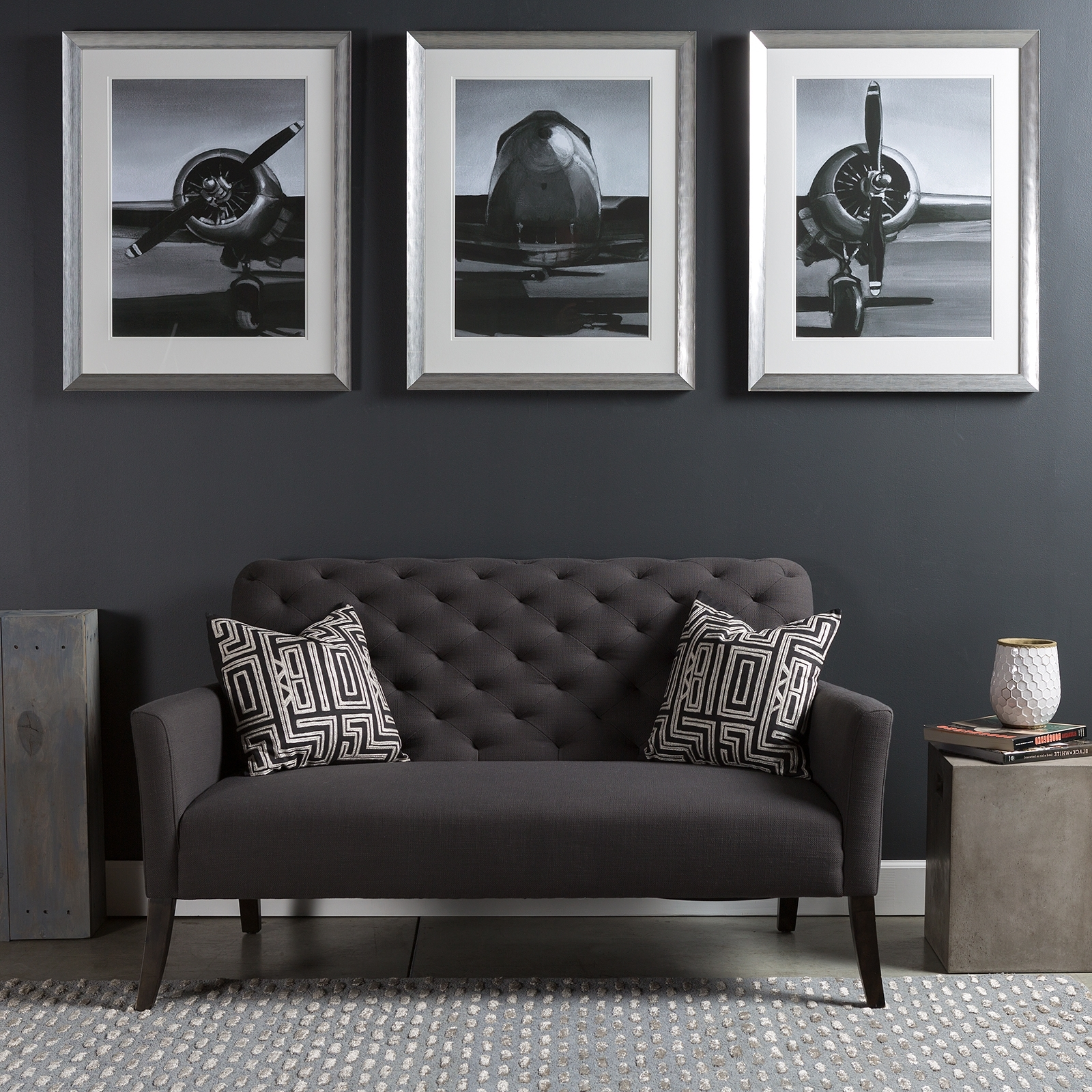 Lovely Triptych Wall Art Piece With A Modern Industrial Flare; A Series Intended  For Famous Industrial