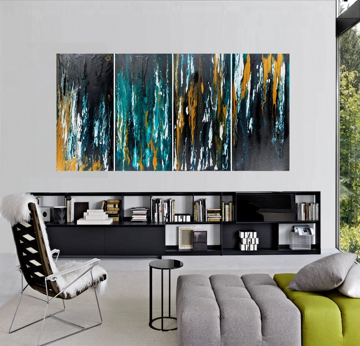 "Turquoise And Black Wall Art Regarding Most Recently Released Meteor Shower Iiqiqigallery 48""x24"" Original Modern Abstract (Gallery 6 of 15)"