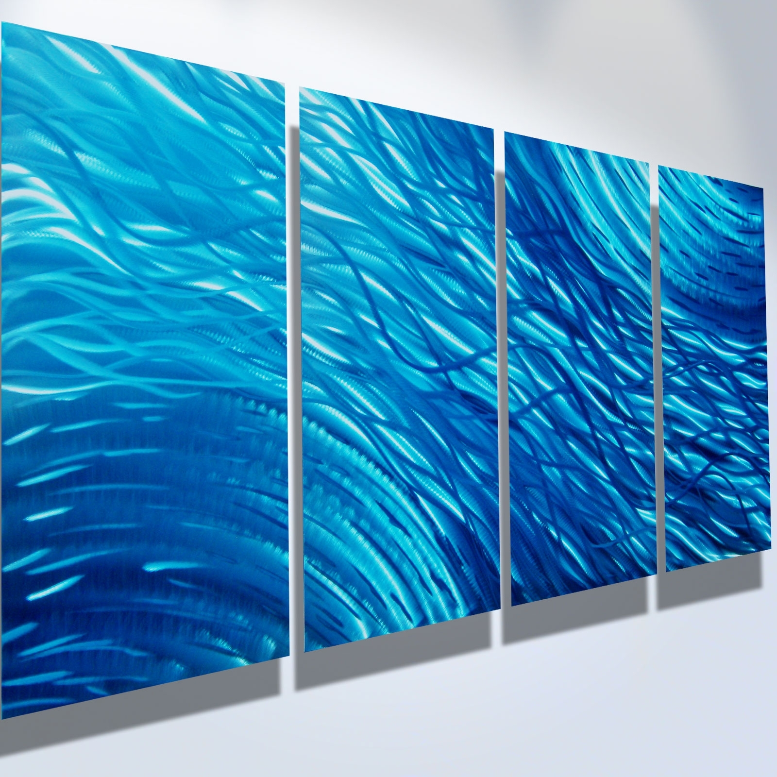 Turquoise Metal Wall Art With Most Recently Released Ocean  Metal Wall Art Abstract Contemporary Modern Decor (View 11 of 15)